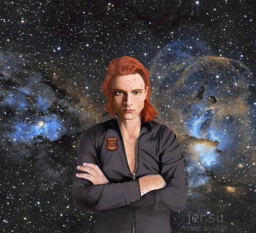 Глас Божий. Абинур Тандри, рыжий, рыжий человек, рыжий парень очень красивый, много веснушек на лице, на теле, четыре пальца у человека, в космосе человек, серьёзный взгляд