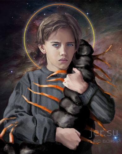 Глас Божий. Экбат Беннит, мальчик десять лет, 10 лет, подросток, печальный взгляд, страдает, ребёнок, с насекомым, держит сколопендру, насекомое, в космосе, святой, мальчик красивый, очень красивый мальчик, очень печальный, грустный, жертва, дети, жертвы взрослых, роман о детях